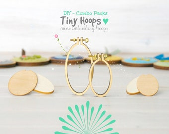 DIY Mini Embroidery Hoop Kits - Pack of 2 - 27mm x 45mm & 34mm x 62mm - DIY Mini Oval Hoop Kits - Choose your Kit