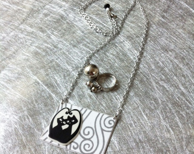 Cat Jewelry Set - Paper jewelry - Cat necklace - Long necklace - ball Ring adjustable size