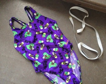 Bzz Retro Swimsuit Purple with Bee's and balloons / Small-Medium / 1980-90s vintage