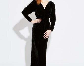 SALE | Vintage 90s Vamp Velvet Gown | Jill Fitzsimon | Evening | Morticia | Elvira | Haloween | Costume | Small