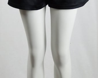 Baylis & Knight Black SATIN High Waisted Waist SHORTS Hot Pants Dita Burlesque Pin Up 50's Rockabilly Retro