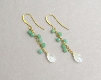 Moonstone drop earrings, Chrysoprase earrings, Cluster earrings