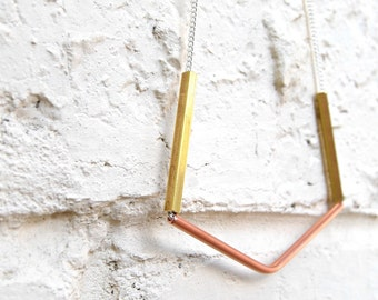 Brass and Copper Geometric Necklace
