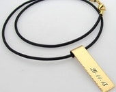 Date Engraved Leather Necklace - Personalized Gold Pendant for Him - Mens necklace. Custom Unisex Jewelry. Mens Jewelry.Mens pendant. Id Bar