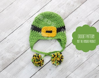 CROCHET PATTERN - Newborn Leprechaun hat, St Patricks day photo prop, newborn photo prop pattern, newborn pattern, Leprechaun hat pattern