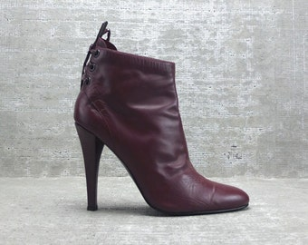 Vtg 90s Maroon Pointed Toe High Stilletto Heel  Ankle Boots 9M