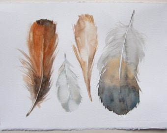 Feather painting/ Watercolor original/ Feather illustration beige gray palette/ Feather art/ Watercolor painting/  feathers wall art