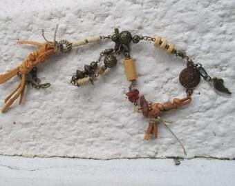 leather bracelet, double wrap bracelet , amber bracelet, tribal bracelet, jewelry art, unique, wearable art, OOAK