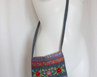 Embroidered denim bag small crossbody boho hippie festival gift idea for her 7 by 8 inches