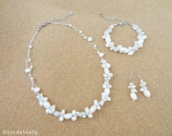 Jewelry set - White freshwater pearl necklace, Bracelet, Earring, Bridal jewelry, Wedding jewelry set, Bridesmaid jewelry, Wedding jewelry
