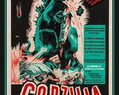 Fridge Magnet Godzilla movie poster image in turquoise and red very dramatic, bold