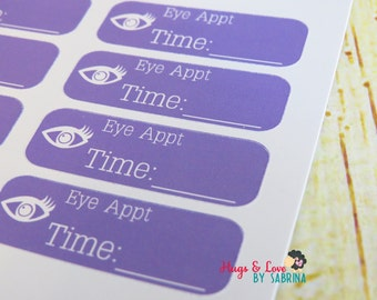 Eye Appointment Planner Sticker - Size Customize-able