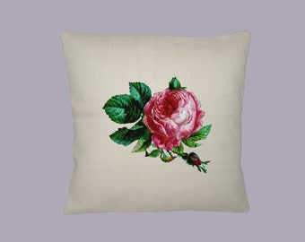 Vintage Pink Rose 16x16 Handmade Pillow Cover - Choice of Fabric