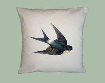 Gorgeous Flying Swallow Bird Vintage Illustration 16x16 Handmade Pillow Cover - Choice of Fabric