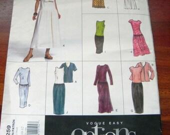 "1990s Dropped waist Sundress dress and Jacket sewing pattern Vogue Options 2259 Size 8 10 12 Bust 31.5-32.5-34"" UNCUT FF"