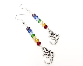 OM CHAKRA EARRINGS seven chakra colors chakra jewelry dangle earrings