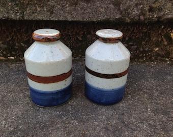 Vintage Otagiri Mariner Salt and Pepper Shakers Speckled Stoneware Raku Finish