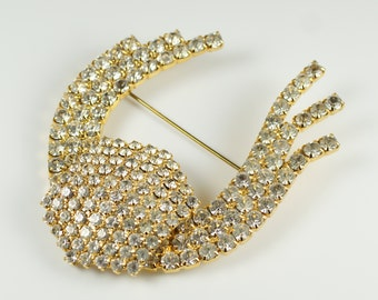 Rhinestone Bow Pin Brooch, Vintage Large Prong Set Clear Rhinestone Gold Tone Bow Pin Brooch