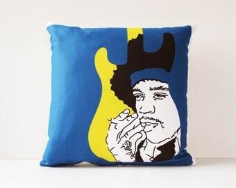 Jimi Hendrix Pillow Cushion, Pillow, Decorative Throw Pillow, Throw Pillow Cover, Cushion Cover, 16 x 16 Pillow Cover