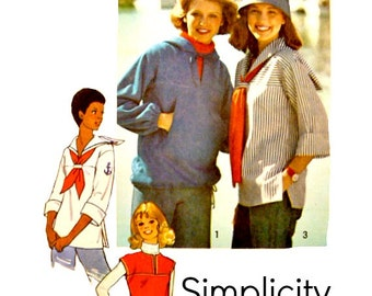 70's Nautical Sailor Collar Pullover Tops Pattern Size Medium 12 14 Simple to Sew Hooded Vintage Simplicity 7564 Sewing Pattern Uncut