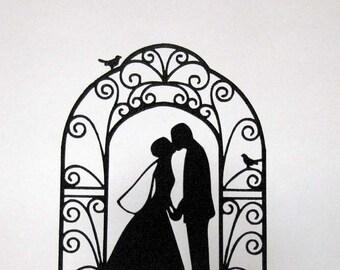 Wedding Cake Topper - Bride and Groom Wedding silhouette