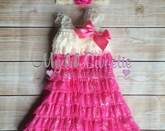 2pc bubblegum pink and ivory  Vintage Lace dress and headband or clip- newborn outfit- infant outfit- flower girl- wedding