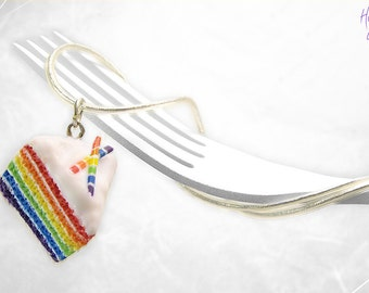 Rainbow Cake Necklace, Mini Food Jewelry, Foodie gift, Cake Jewelry, Rainbow Pendant, Gift under 30, Birthday gift, Rainbow Charm Colorful