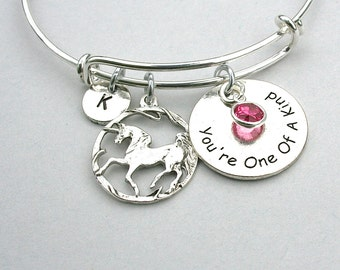 "Stainless Steel  "" You're One Of A Kind - Infinity Circle Unicorn Charm , Birthstone , Personalize, Initial - Gift For Her , Under 20   R114"