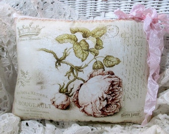 FADED Pink ROSE Pillow, French Script Pillow, PARIS Decor, French Pillow,  Shabby Decor  #C81