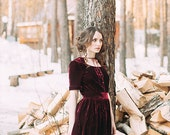 """Skater velvet dress """"Bordeaux"""", wine-coloured velvet dress, mini dress, evening dress, skater dress"""