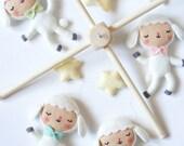 PDF pattern - Little dancing lambs - Felt baby mobile ornaments, sewing pattern