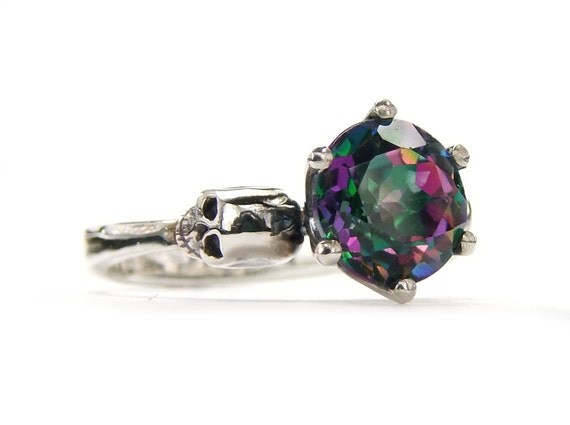 Goth Skull Engagement Ring Mystic Topaz Sterling Silver Ring Green Pink Gemstone Memento Mori Womens Ring All Sizes Psychobilly