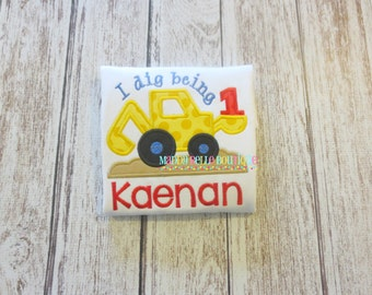 Digger Birthday Appliqued Shirt - Embroidered, Personalized, Monogram, Construction Birthday Shirt,  Numbers 1-5 available!