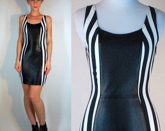 Vintage 80s Genuine Leather Black + White Vertical Striped Bandage Tank Dress. Wild Rocker bodycon Spandex Monochrome Mini. Extra Small