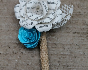 Mini paper flower boutonniere