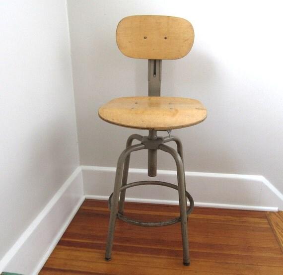Vintage wood metal stool swivel drafting by