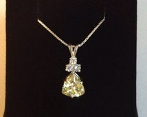 Trillion Cut Yellow Citrine Quartz & White Sapphire Sterling Silver Pendant Necklace Jewelry Trends Trending Gemstones with Accents
