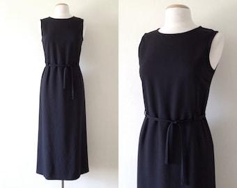 long black dress / vintage 90s dress womens  / maxi dress minimalist / navy sheath sleeveless dress