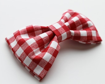 Red Gingham Hair Bow or Red Gingham Bow Tie - Red Bow - Red Bows - Gingham Bows
