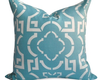 Duralee Prismatic Geometric Pillow Cover in Aegean Blue - SAME Fabric BOTH Sides - Invisible Zipper - 18x18, 20x20, 22x22 and lumbar sizes