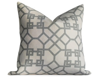"Karvet Windsor Smith Grey Trellis Linen Pillow Cover - 16""x16' - SAME Fabric BOTH Sides - Invisible Zipper - accent pillow, throw pillow"