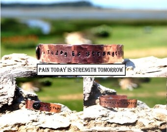 Pain Today is Strength Tomorrow Bracelet, Affirmation Bracelet, Gift Idea, Unisex Inspirational Bracelet, Strength Bracelet, Personalized