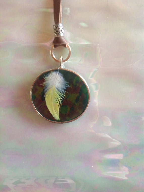 Dark Green  Iridescent Circle Art Glass Pendant