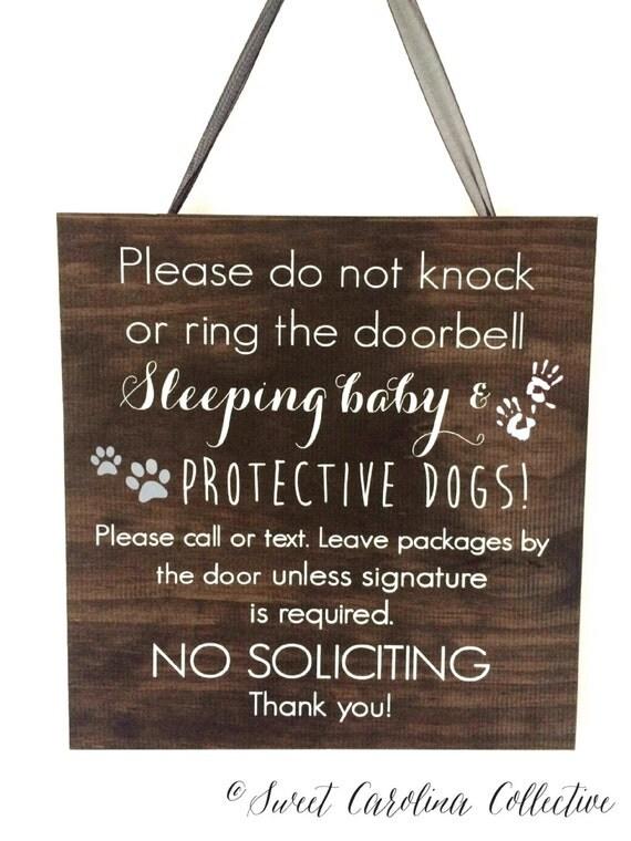 Sign Rustic sign BS 3 Sleeping Door  door  Dog Protective rustic Baby