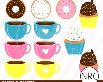 Coffee Donuts Cupcakes Clip Art - Cute Breakfast Sweets Clip Art, Commercial Use