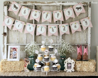 Cowgirl/Pony Pink and Brown Happy Birthday Banner: INSTANT DOWNLOAD