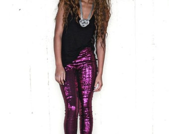 LAST One...Magenta Fuchsia Abstract Pink Skinny Sequin Leggings Pants..Meduim