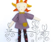 Rag Doll Sewing Pattern - PDF Instant Download - Cloth Doll Tutorial - Modern Raggedy Girl