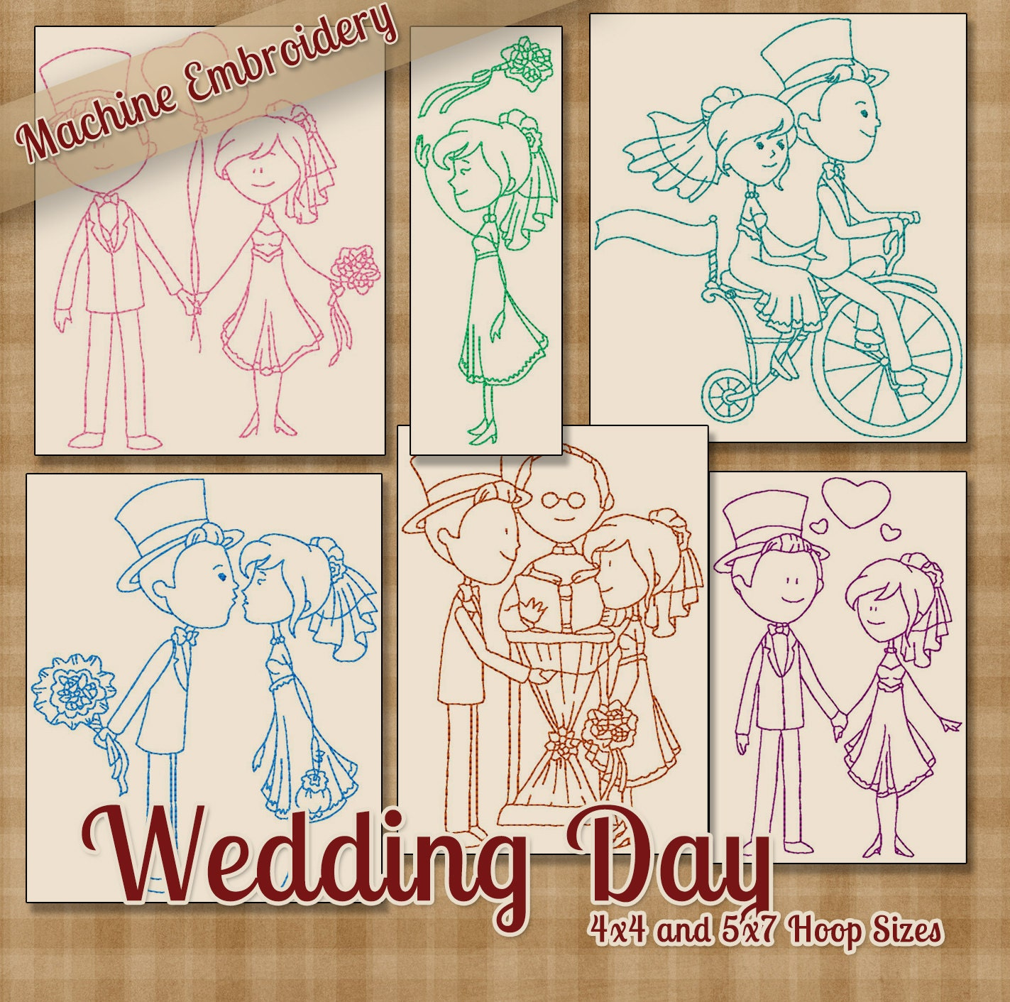 Redwork wedding day machine embroidery patterns designs