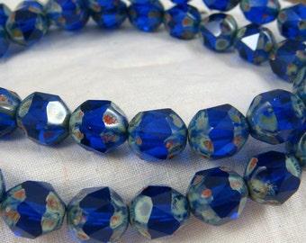 Czech Beads, Czech Glass Picasso Beads - Cobalt Blue Beads (CEN/N-1048) - Picasso Czech Glass Central Cut Irregular Rounds - 10x8mm - Qty 10